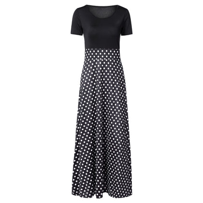 Women Print Long Dress Spliced Round Collar Short Sleeve High Waist