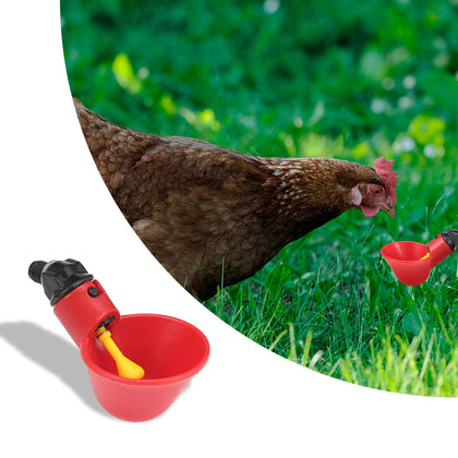 12PCS Automatic Waterer Drinker Red Bowl Cups Chicken Coop Poultry Chook Bird Turkey Drink Pigeon Quail Refill