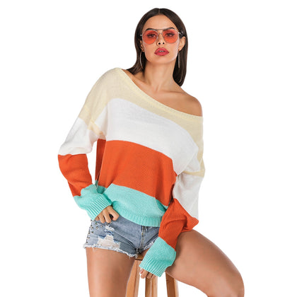 Color Blocking Sweater Striped Long-sleeved for Women