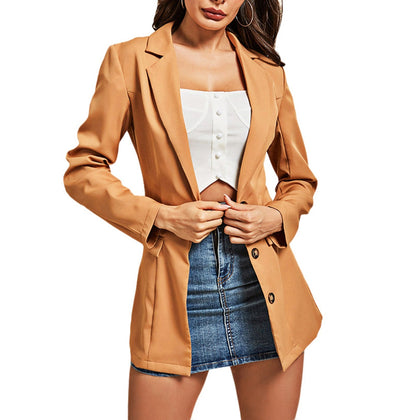 Solid Color Women Suit Button Cardigan with Fake Pocket