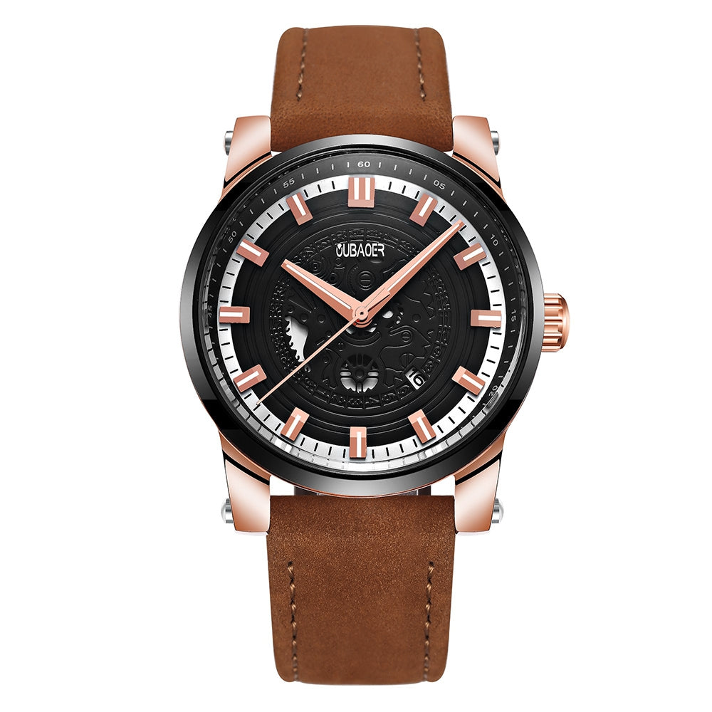 OUBAOER 2020A Men's Quartz Watch Leather Strap Hollow Face Luminous Calendar Small Three-Pin