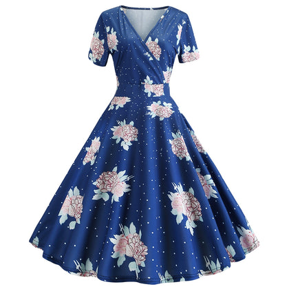 Vintage Floral Dress V-neck A-line Silhouette Women Wear