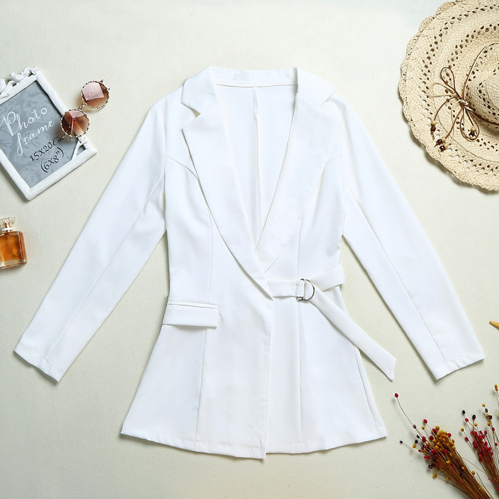 Women Suit Coat Waist Belt Plunging Neck Lapel Long Sleeves