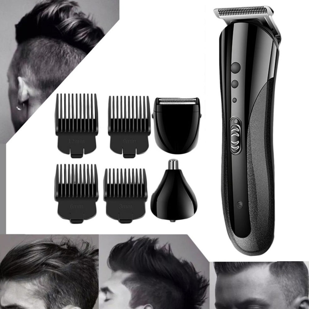 Kemei KM - 1407 Washable Rechargeable Razor Hair Clipper Nose Multi-function 3 in 1 Hairdressing Tool