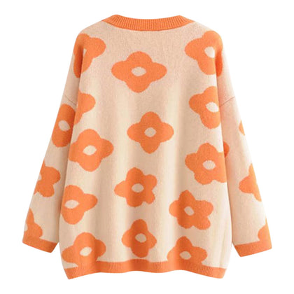Floral Knitted Sweater Round Collar Casual  Women Pullover