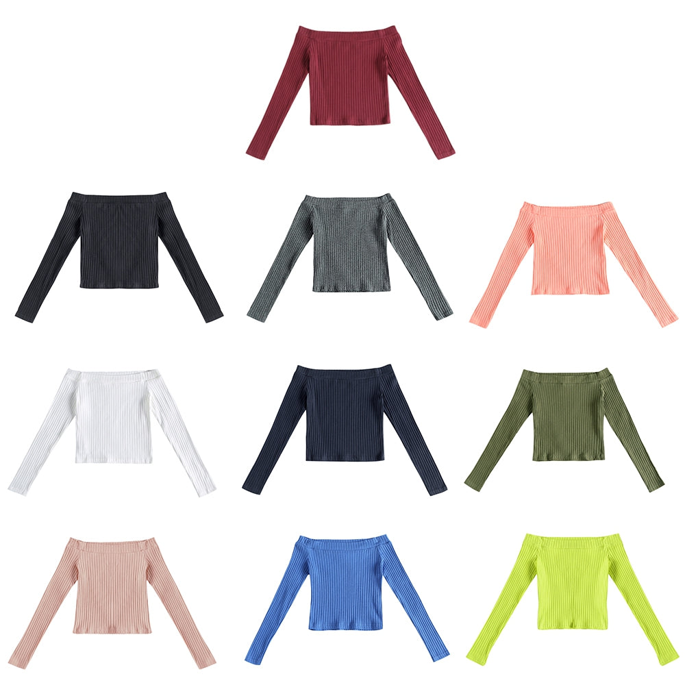 Elastic Women Crop Top Solid Color Long Sleeve Close-fitting T-shirt