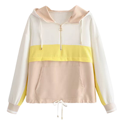 Women Hoodie Color Splice Hooded Collar Pullover Zipper Long Sleeve Pocket