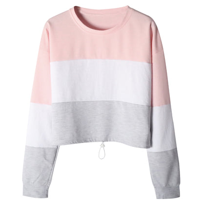 Patchwork Color Blocking Hoodie Round Collar Loose Pullover