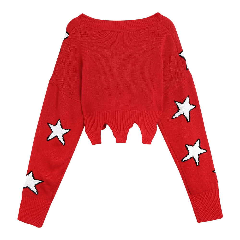 Women Sweater Star Pattern V Neck Loose Style Long Sleeve Wave Hem