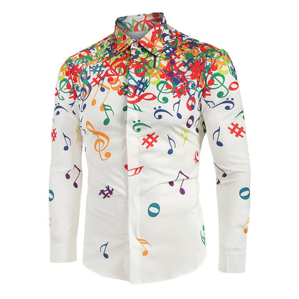 Musical Note Pattern Long Sleeves Shirt