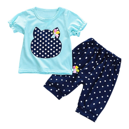 Girls 2-piece Suit T-shirt Shorts Polka Dots Round Neck Short Sleeve