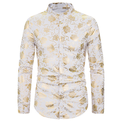 Men Shirt Rose Gilded Slim Fit Turn Down Collar Long Sleeve