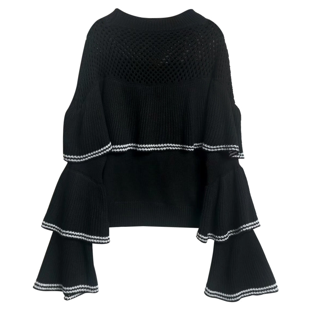 Women Pullover Sweater Hollow Ruffle Splice Round Collar Bell Sleeve