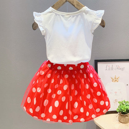 Girls 2-piece Suit T-shirt Skirt Polka Dot Bow Round Neck Short Sleeves