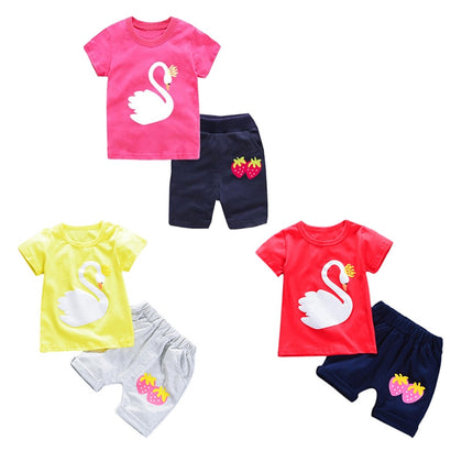 Girls 2-piece Suit T-shirt Shorts Cute Cartoon Round Neck Short Sleeve