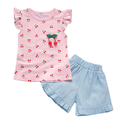 Girls 2-piece Suit T-shirt Shorts Cherry Printed Round Neck Ruffled Sleeves