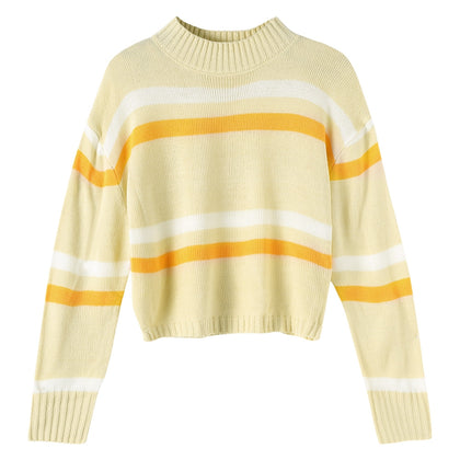 Striped Women Sweater Round Collar Long Sleeve Crop Top
