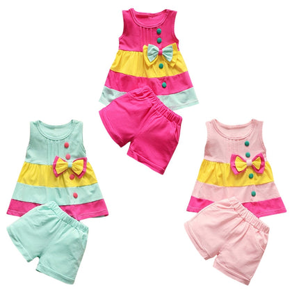 Girls 2-piece Suit T-shirt Shorts Color Splice Bow Round Neck