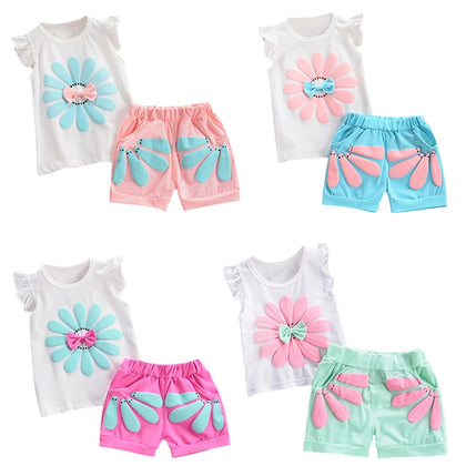 Girls 2-piece Suit T-shirt Shorts Floral Bow Round Neck Ruffled Sleeve