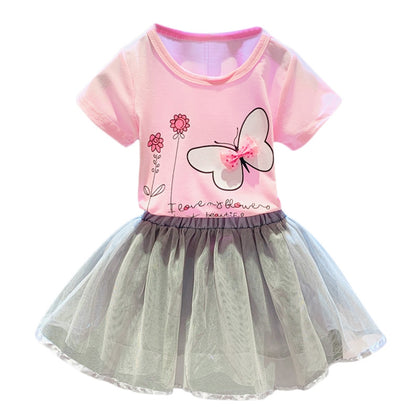 Girls 2-piece Suit T-shirt Skirt Flower Butterfly Round Neck Short Sleeves