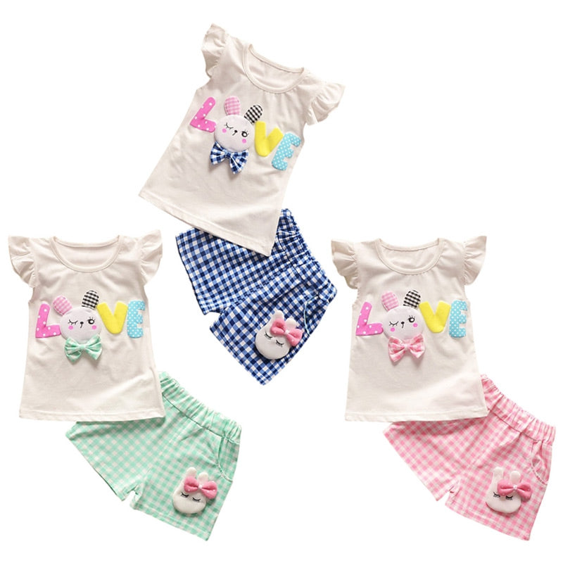 Girls 2-piece Suit T-shirt Shorts Cute Rabbit Round Neck Short Sleeves