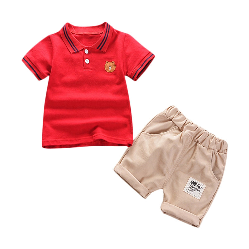 Boys 2-piece Suit T-shirt Shorts Turn-down Collar Short Sleeves Pockets