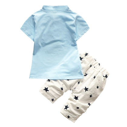 Boys 2-piece Suit T-shirt Shorts Star Button Stand Collar Short Sleeves