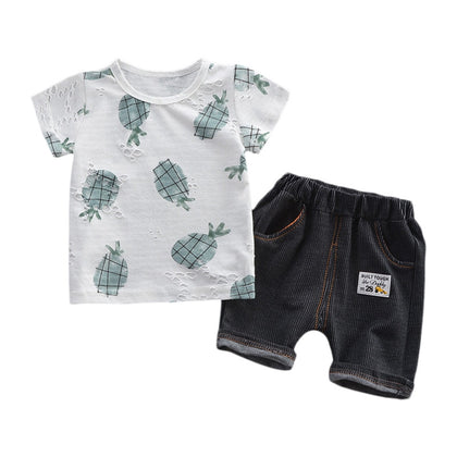 Boys 2-piece Suit T-shirt Shorts Pockets Hollow Turtle print Round Neck Short Sleeves