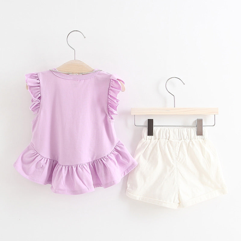 Girls 2-piece Suit T-shirt Shorts Ruffle Splice Round Neck Short Sleeves