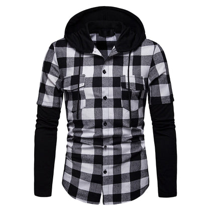 Men Shirt Plaid Printed Pocket Hood Long Sleeve Drawstring Neck Button Closure