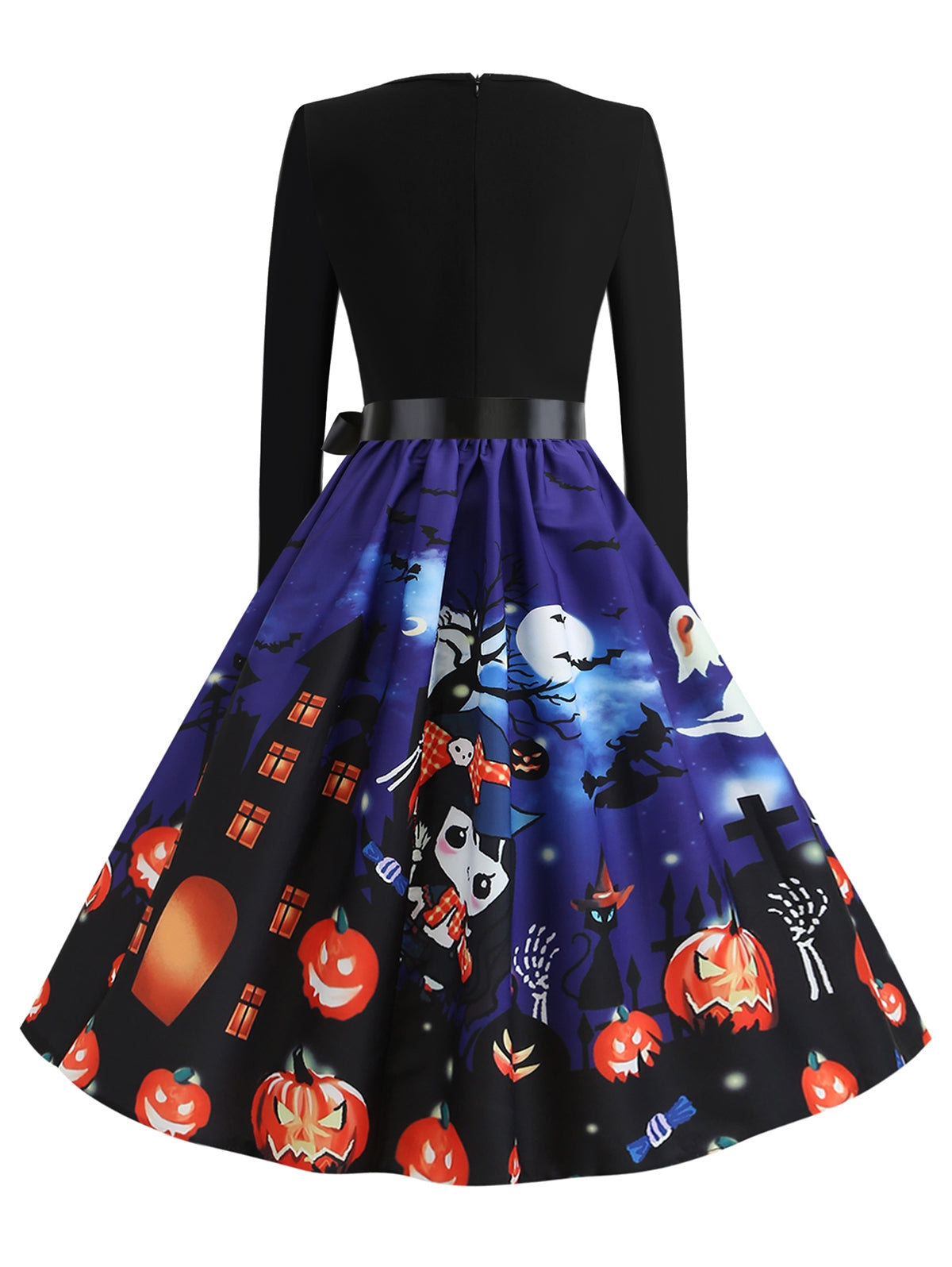 Halloween Pumpkin Black Cat Print Party Dress