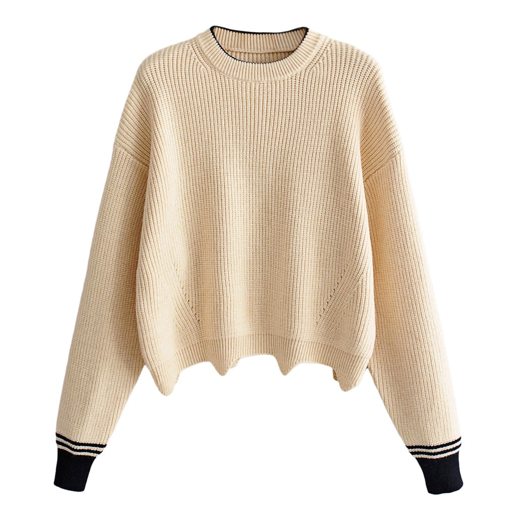 Women Pullover Knit Sweater Loose-fitting Style Wave Hemline Round Collar Long Sleeve