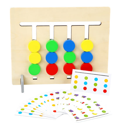 Four-color Fruit Wooden Matching Logic Game Two Sides Mathematics Educational Toys for Children