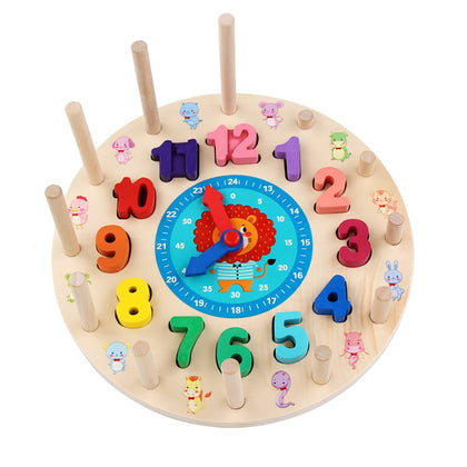 Wooden Building Blocks Rainbow Digital Clock Alarm Children Educational Toys