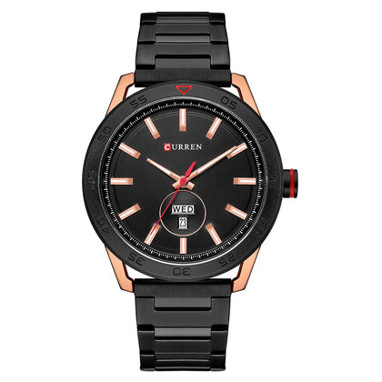 CURREN 8331 Men's Quartz Watch Waterproof Business Round Double Calendar