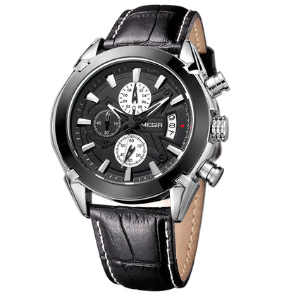 MEGIR 2020G Men's Quartz Watch Multi-function Casual Fashion Waterproof Leather