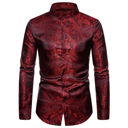 Paisley Print Men Shirt Button-up Stand-up Collar Long Sleeve
