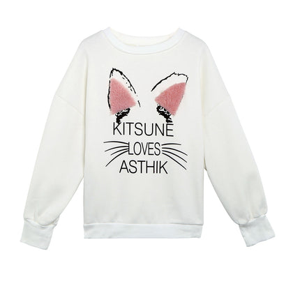 Women Pullover Round Collar Cat Pattern Letter Print Long Sleeve