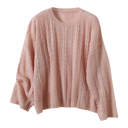 Round Neck Pullover Sweater Double Twist Hollow Long Sleeve