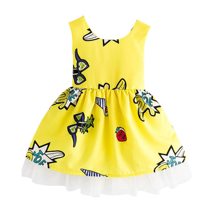 Bowknot Mesh Cut Out Girl Dress Round Collar Sleeveless Pattern Children Garment