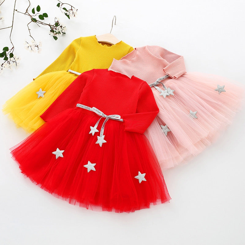 Star Print Girl Princess Dress Round Collar Long Sleeve Mesh Pleated Children Garment