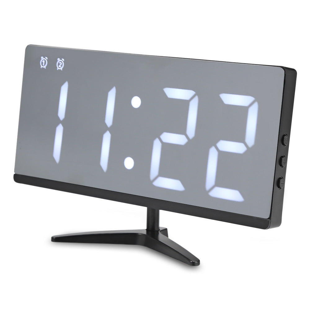 LED Mirror Digital Alarm Clock Multifunction Snooze Display Time with Bracket