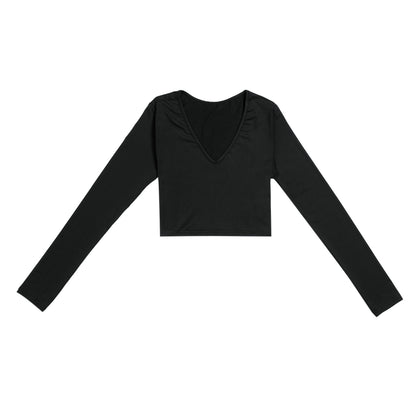 Bodycon Crop Top Long Sleeve Deep-V Women T-shirt