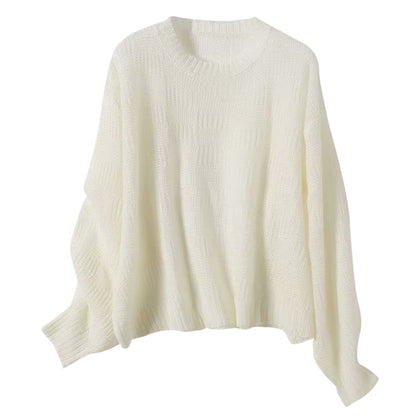 Knitted Women Pullover Long Sleeve Round-neck Sweater