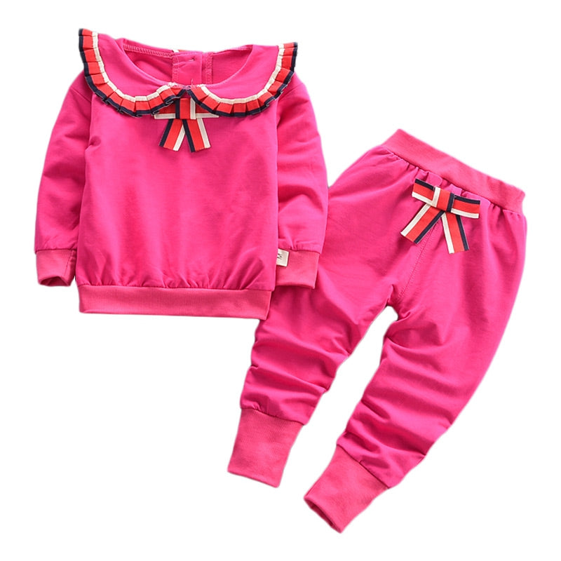 Flounce Bowknot Girl Two-piece Suit Long Sleeve Cotton Children Garment