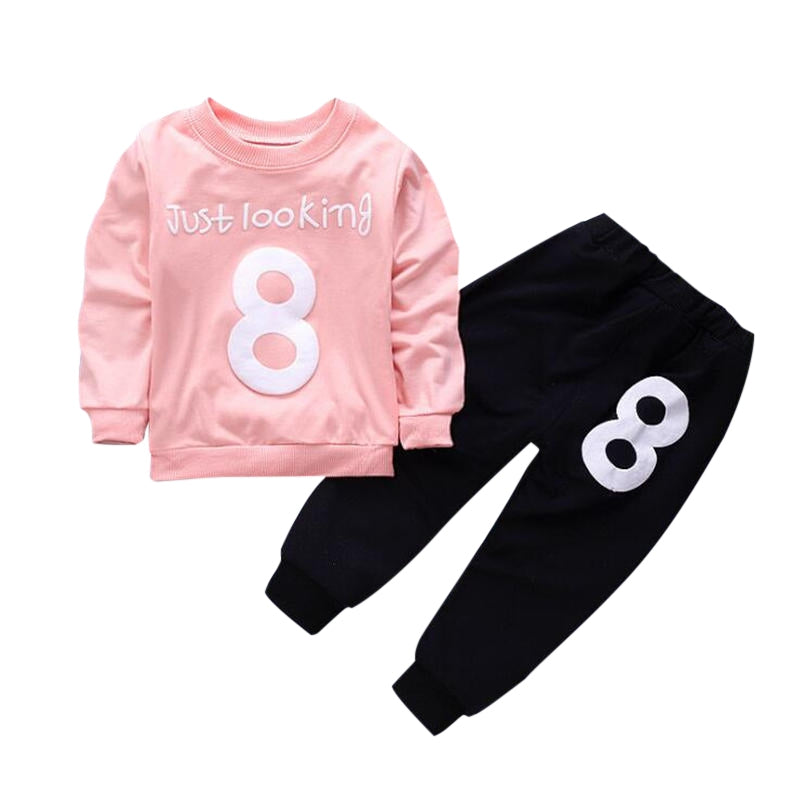 Number Print Kid Two-piece Suit Round Collar Long Sleeve Cotton Children Garment