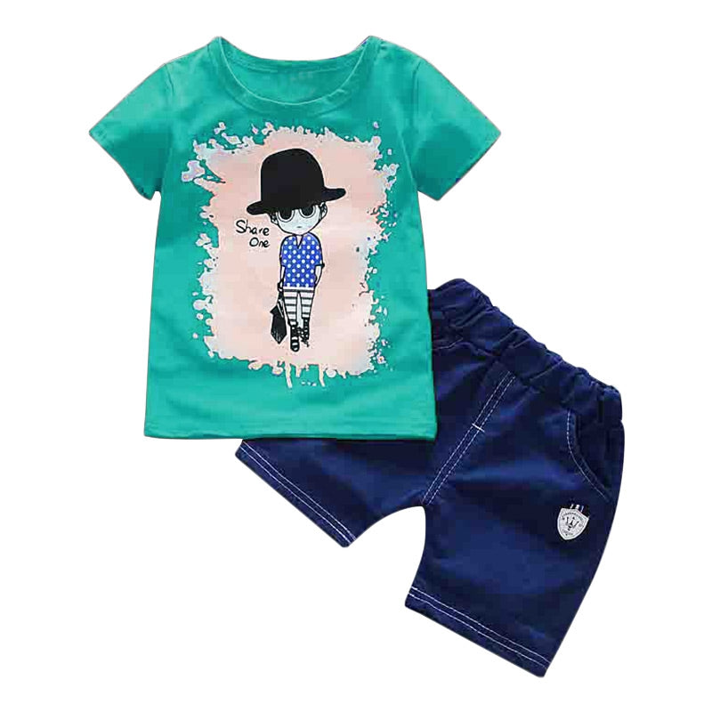 Round Collar Short Sleeve Cartoon Print Summer Kid Two-piece Suit