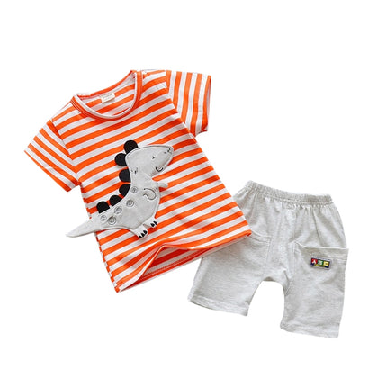 Stripe Print Cartoon Round Collar Short Sleeve Summer Kid Two-piece Suit