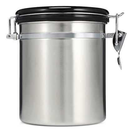 Coffee Beans Sealed Can with Exhaust Valve Stainless Steel Tea Canister