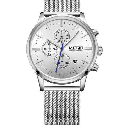MEGIR 2011 Men's Quartz Watch Steel Belt Waterproof